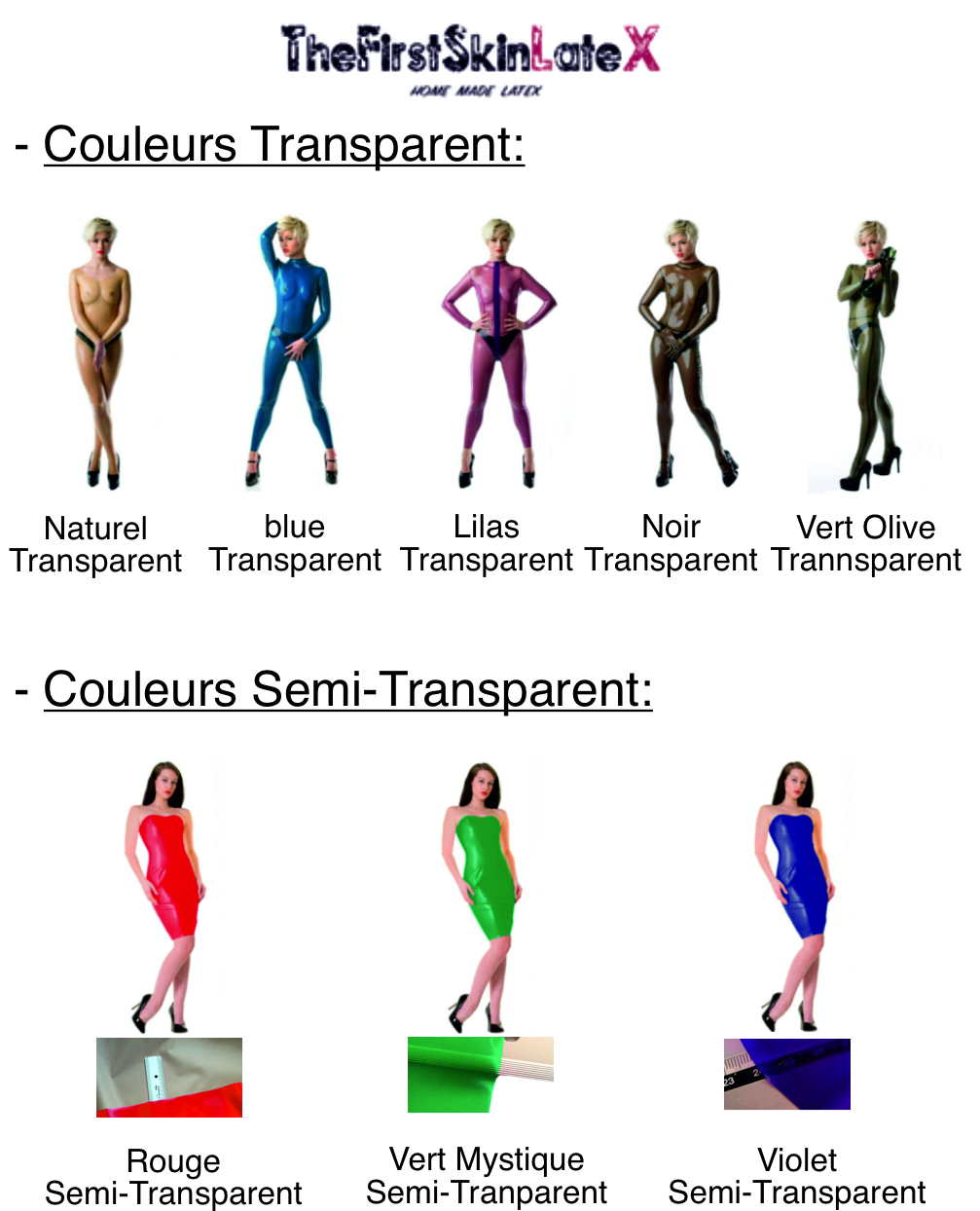 Transparent Colors For Latex Clothes and Accessories